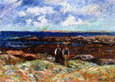 La Pointe de Beg er Morz, huile sur toile de Henri Moret (1856-1913, France)