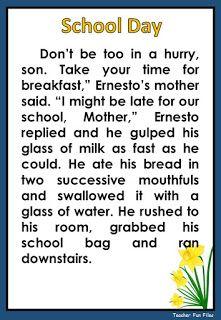 Teacher Fun Files: Reading Reading Comprehension Grade 1, 4th Grade Reading Worksheets, Kindergarten Reading Activities, Reading Passages, English Stories For Kids, English Lessons For Kids, English Reading, English Writing Skills, Phonics Blends