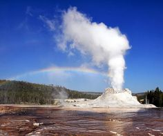 #yellowstonenationalpark    Castle Geyser,Yellowstone National Park,United States  Isn't it beautiful ? It is much like a Paradise for the Geyser Loving people.  Steam phase eruption of Castle Geyser demonstrates primary and secondary rainbows and Alexander's band in Yellowstone National Park  For more travel updates be connected to  Travel Universally