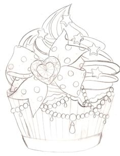 Cupcake Tattoo 2 by ~Metacharis on deviantART.I dont know why but I LOVE cupcake tattoos! Girly Tattoos, Love Tattoos, Tattoo Sketches, Tattoo Drawings, I Tattoo, Adult Coloring Pages, Coloring Books, Cupcake Tattoos, Cupcake Tattoo Designs