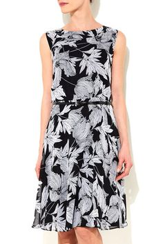 Black Floral Fit And Flare Dress