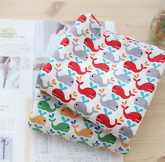 Baby Whales Pattern Cotton Fabric by Yard AW14 2 by luckyshop0228, $11.80