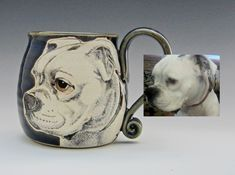 Send me a photo of your dog and I will hand paint with glazes their image on a mug or urn I've thrown on my pottery wheel. It is a permanent, high fired piece that is dishwasher and microwave safe. Portrait Images, Dog Portraits, Pet Dogs, Pets, Pottery Wheel, Ceramic Mugs, Custom Mugs, Urn, Microwave