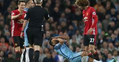 Marouane Fellaini was sent off as Man Utd drew 0-0 with Manchester City at the Etihad in the Manchester derby.