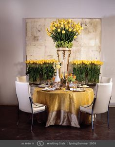 My all time favorite. Ivory dupioni with yellow paillette overlay featuring various size arrangements of roses
