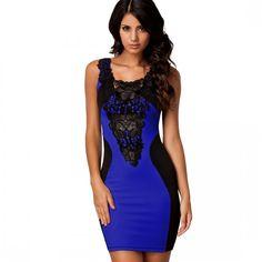 Floral Lace Bodycon Dress - Blue