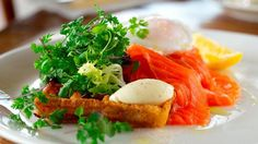 Smoked Ora King Salmon, Potato Waffle, Poached Egg, Creme Fraiche & Herb Salad | Recipe | Fox News