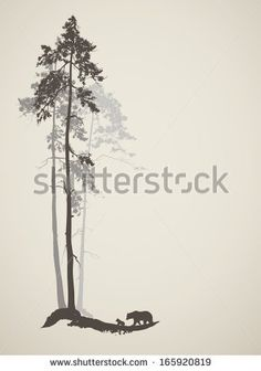 silhouette of a pine forest with bears, vector illustration - stock vector