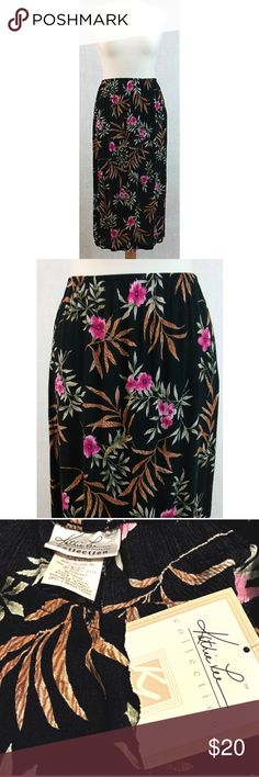 """Vintage Floral Long Skirt Kathie Lee Collection XL Vintage Long Floral Kathie Lee Collection Skirt, New with Tags NWT Gauzy Stretch Black with Pink Flowers & Greenery, size XL fits 16-18. 100% Rayon, unlined, elastic waist is 32"""" unstretched. Skirt is 37"""" long.   #S15 Vintage Skirts Maxi"""