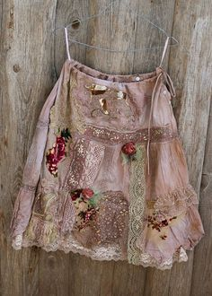 Sweet Rose skirt - -bohemian, romantic, shabby chic, hand dyed, embroidered details