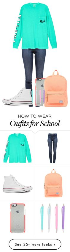 """School wear"" by annabelle-vii on Polyvore featuring J Brand, Victoria's Secret, Herschel Supply Co. and Converse"
