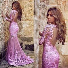 Mermaid Tulle Applique Lace Plum Prom Dresses Scoop Neck Transparent Long Sleeves Formal Evening Dre on Luulla