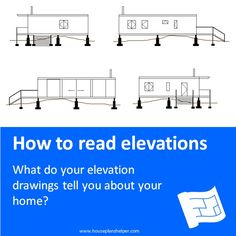 Click through to www.houseplanshelper.com for more on reading elevations, house plans and home design. Stairs Outside The House, Take The Stairs, Blueprint Symbols, Floor Plan Symbols, Title Block, Free Floor Plans, Study Site, Section Drawing, Elevation Drawing