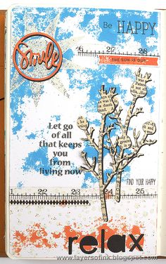 Layers of ink - Relax Art Journal Tutorial by Anna-Karin. Made for the Simon Says Stamp The Color of Fun blog hop, using SSS dies, ink and stamps.