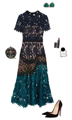 """""""Untitled #1287"""" by nujixo on Polyvore featuring self-portrait, Christian Louboutin, Colette Jewelry, Lipstick Queen, Alexander McQueen and Byredo"""
