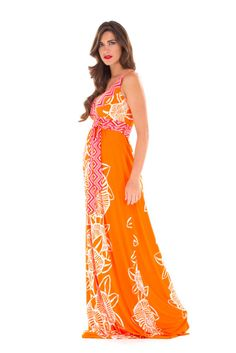 Emma Maxi Maternity Dress in Orange & Pink Floral by Olian with free shipping