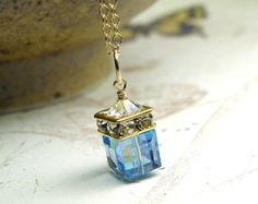 Aquamarine Crystal Necklace Teal Blue Gold Filled by fineheart, $42.00