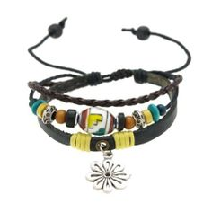 Hollow Flower Pendant Leather Bracelet Adjustable 6.5 to 12 Inches SWEETIE 8. $10.17. With Metallic beads, Wood Beads??. Trendy three strands calf leather braclet. Beads and Charms are not removable. Comes with Gift Box and Polishing Cloth. Adjustable with pull cords from 6.5 inches to 12 inches