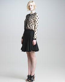 RED Valentino Leopard Cardigan & Full Skirt