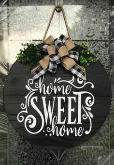 Door Hanger Wreath Home Sweet Home Sign Home Sweet Home Wood Sign Home Sweet Home Wreath Front Door Decor Sign Wedding Gift Wood Signs For Home, Diy Wood Signs, Home Signs, Wooden Door Signs, Barn Wood Signs, Front Door Signs, Front Door Decor, Front Doors, Wreaths For Front Door