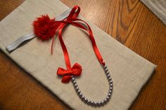 Ohio State Set: Little Girl Ribbon Necklace and Headband - Red and Gray, Christmas - only $10