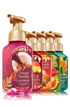 Warm & Cozy Favorites - Gentle Foaming Hand Soap Bundle - Bath & Body Works - Welcome guests into your home this season with 5 Gentle Foaming Hand Soaps! Made with nourishing Aloe and protective Vitamin E, our best foam ever leaves hands clean, soft & beautifully scented with cozy fall fragrance.