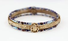 Late Qing silver gilt repousse bracelet with enameling - very collectible!