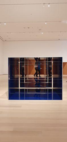 Donal Judd, Untitled, 1969, cleat anodized aluminum and blue Plexiglas, 4 units, 121.9 x 152.4x 152.4 cm #MoMA #plexiglass #Plexiglas #art #DonaldJudd #artist #blue #NewYork #NY Moma Collection, Plexus Products, The Unit, Artist, Museums, Corning Glass, Artists