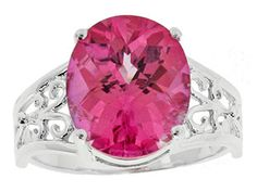 Large Pink Topaz Sterling Silver Filigree Ring Available Exclusively at Gemologica.com