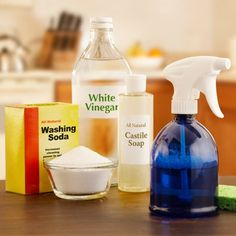 Nix the toxic cleaning products and opt instead for soap, baking soda, vinegar, and lemon juice to take care of most needs. For recipes, get the book Clean and Green by Annie Berthold-Bond.