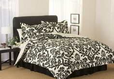 Zeus Black Large Scroll Comforter 4 Piece Set - Discount Toile Comforters and Comforter Sets. I would and a pop color like red or blue Damask Bedroom, Damask Bedding, Black Comforter, White Bedding, Bedroom Bed, Bedroom Ideas, Bedrooms, Master Bedroom, Dream Bedroom