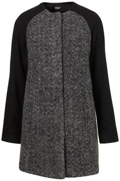 Collarless Knit Swing Coat