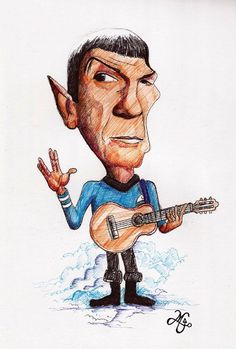 Leonard Nimoy (homage/caricature- Bic on canson)