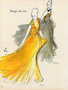 Molyneux  and Lanvin  evening gowns, illustrated by Rene Gruau, 1947