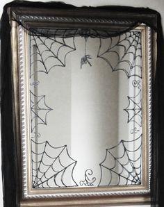 glitter glue on wax paper web design added to entry mirror. Entry Mirror, Diy Mirror, Halloween 2018, Halloween Ideas, Dead Ends, Glitter Glue, Mirror Ideas, Chalkboard Art, Wax Paper