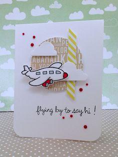 ¿Alguien al que aprecias se va de viaje?, esta tarjeta es perfecta para desearle un feliz viaje, con el sellito Bon Voyage de Lawn Fawn, disponible en www.upandscrap.com
