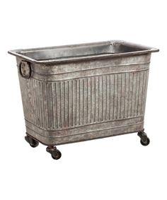 normal bucket metallic paint and wheels....dupe... #zulily! Galvanized Metal Tub #zulilyfinds