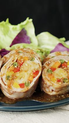 Veggies are good, but veggies inside pork belly drizzled with a tangy sauce, FTW. Wrap Recipes, Bacon Recipes, Cooking Recipes, Pork Jerky, Pork Roll, Foil Pack Meals, Food Menu, Vegan, No Cook Meals