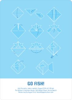 Origami Fish Party Invitations by Paper Culture