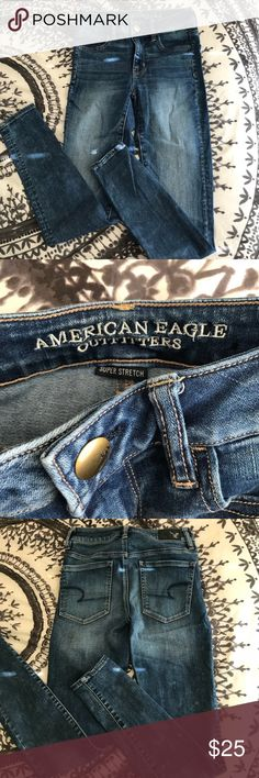 American Eagle High Waist Jeggings Size 0reg Worn once. In a dark blue wash American Eagle Outfitters Jeans Skinny