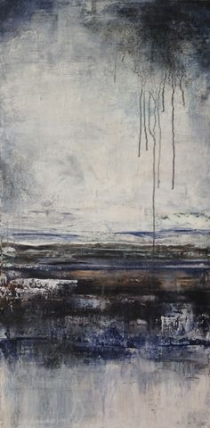 """Abstract Acrylic & Mixed Media - 18 x 36 - from the """"Sourced"""" Series ~ Efflux -  Artist: Pauline Jans"""