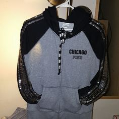 TAX SALE VS PINK BLING CHICAGO FASHION SHOW HOODIE TAX TIME SALE# LIMITED EDITION^*BIG SALE GET THIS NOW BEFORE IT'S GONE^*SIZE SMALL LIKE NEW WORN ONE TIME VICTORIA SECRET PINK RARE BLING CHICAGO FASHION SHOW FULL ZIP HOODIE. A MUST FOR THE VS PINK LOVE. *CHEAPER ON merc just ask. * any questions please ask. Bundle for even more savings. PINK Victoria's Secret Tops Sweatshirts & Hoodies