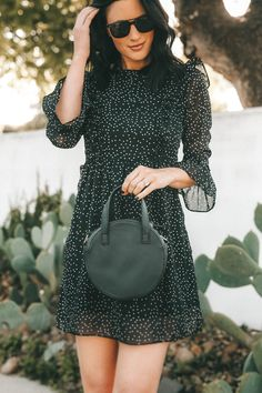 e9f3d70a365b #ad Affordable Polka Dot Ruffled Sleeve Dress with Walmart! | This Polka  Dot Dress