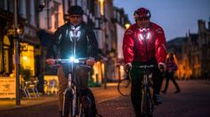 """""""Visijax is a lightweight nylon jacket embedded with strategically placed LEDs that flash when the wearer signals a right or left turn by raising an arm. New Gadgets, Cool Gadgets, Bright Jacket, Dazzle Camouflage, Smart Jackets, Alone In The Dark, Wearable Technology, Cool Tech, Laptop Sleeves"""