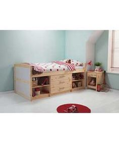 Classic Mid Sleeper Bed Frame with 3 Drawers - Pine.