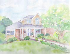Home Portrait // Jocelyn Edin // Garden of Edin #watercolor #michigan #home