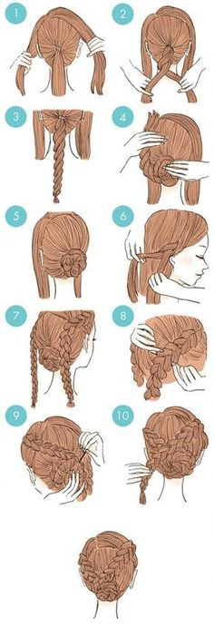 hair hair updos 65 Easy And Cute Hairstyles Th Cute Quick Hairstyles, Up Hairstyles, Hairstyle Ideas, Hairstyle Tutorials, African Hairstyles, Amazing Hairstyles, Elegant Hairstyles, Simple Hairstyles For School, Simple Braided Hairstyles