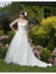 Strapless Sweetheart Ruched Bodice A-line Wedding Dress