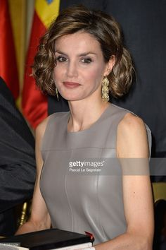 Queen Letizia of Spain Photos - Queen letizia of Spain attends a meeting at the Library of the Cervantes institute on June 2015 in Paris, France. - King Felipe of Spain and Queen Letizia of Spain on Official Visit in France : Day 3 Princess Letizia, Queen Letizia, Princess Of Spain, Spanish Royalty, Estilo Real, Her Majesty The Queen, Crown Princess Victoria, Leather Dresses, Royal Fashion