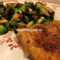 This is a simple recipe, perfect for busy nights. The spices really bring out a great flavor and the thighs are so tender they fall off the bone! You can make the Brussels Sprouts I put up last wee…